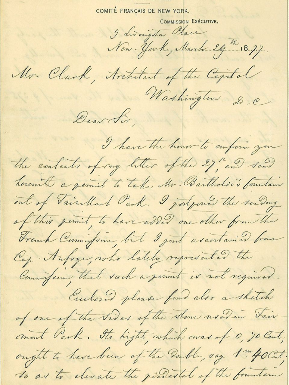 Letter to Architect of the Capitol Edward Clark regarding moving the Bartholdi Fountain from Fairmont Park in New York to Washington, D.C.