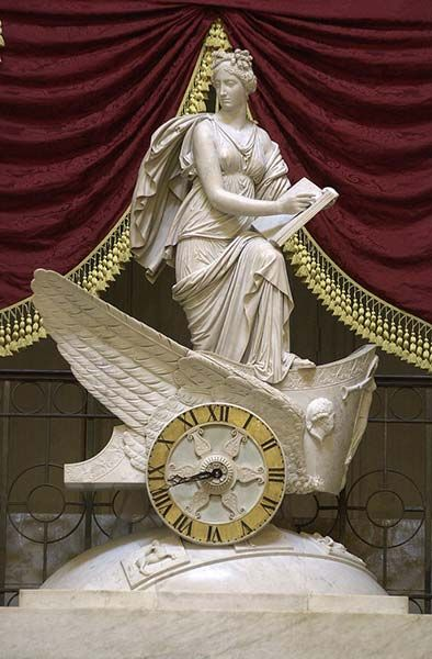 The Car of History clock in U.S. Capitol's National Statuary Hall.