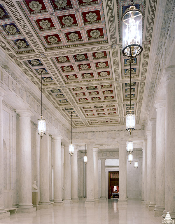 The main corridor of the U.S. Supreme Court Building, known as the Great Hall.