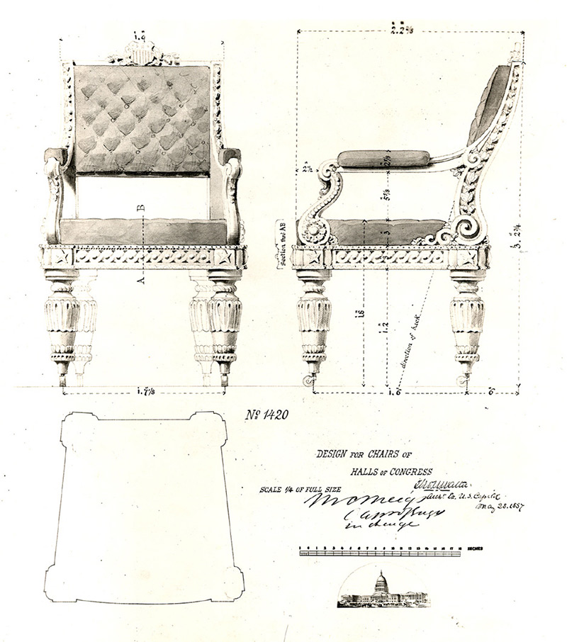 Thomas Ustick Walter's design for the House of Representatives Chamber chairs.
