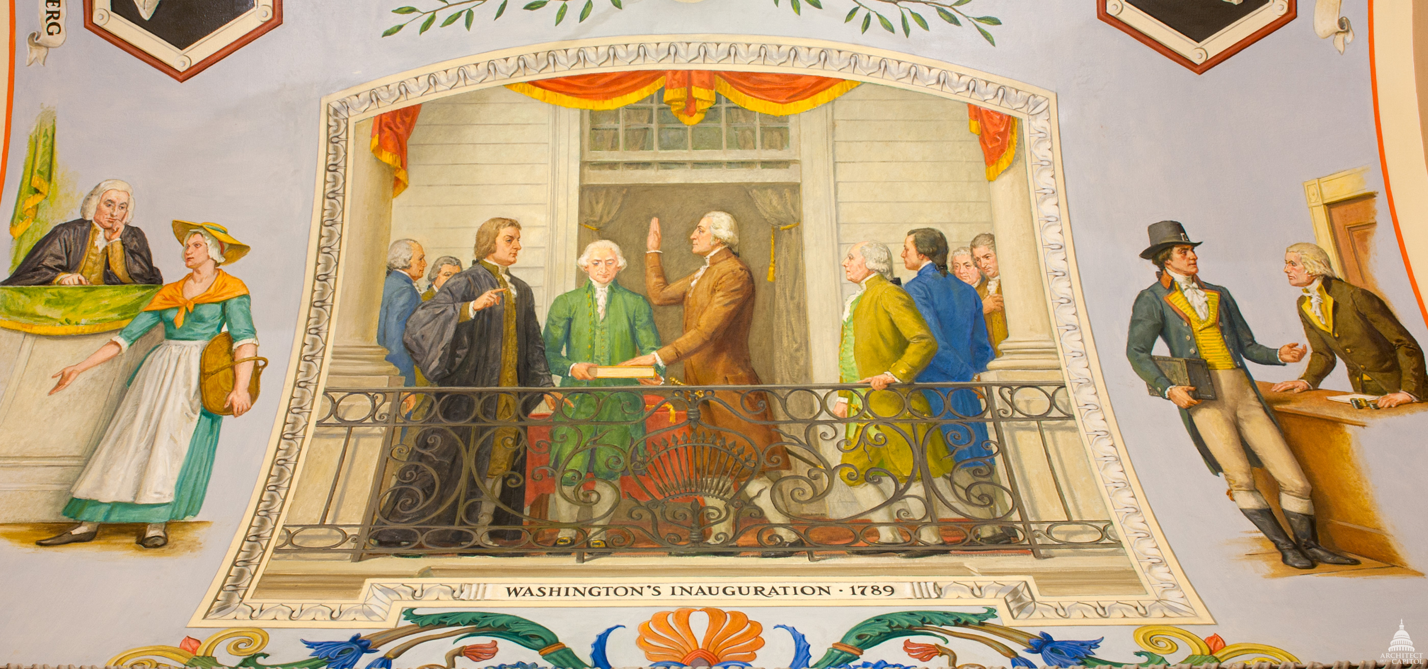 Cox Corridors mural in the U.S. Capitol depicting Washington's Inauguration, 1789.